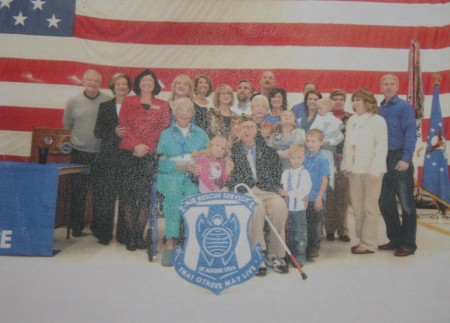 Bill and his family at the recognition ceremony in 2013 in Traverse City.